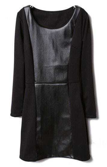 Black Round Neck Long Sleeve Contrast Leather Dress