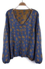 Blue Puff Sleeve Yellow Spot V-neck Cardigan Sweater