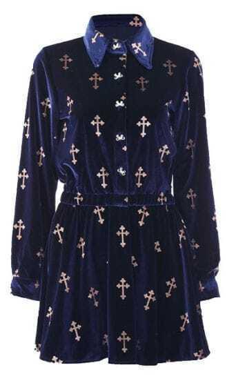 Navy Lapel Long Sleeve Cross Print Bow Velvet Dress