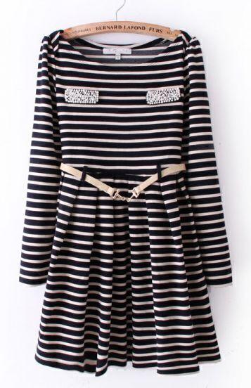 White Blue Striped Long Sleeve Pearls Pockets Dress