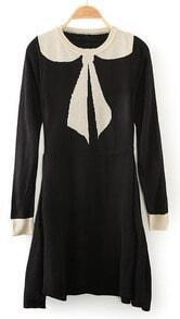Black Round Neck Long Sleeve Bow Wool Dress