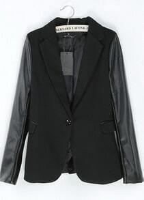 Black Contrast PU Leather Long Sleeve Suit