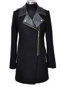Black Long Sleeve Contrast Leather Epaulet Coat
