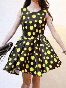 Black Yellow Sleeveless Polka Dot Ruffles Dress