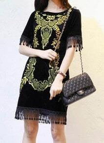 Black Short Sleeve Embroidery Tassel Dress