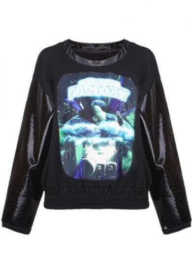 Black Creater Factory Contrast Snakeskin PU Sleeve Galaxy Sweatshirt