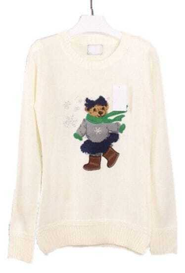 White Long Sleeve Bear Snowflake Embroidery Sweater