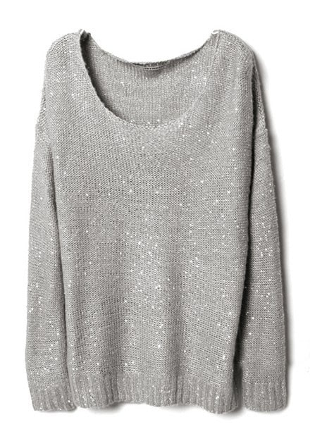 Grey Long Sleeve Sequined Pullovers Sweater -SheIn(Sheinside)