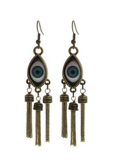 Blue Eye Dark Gold Chain Tassel Dangle Earrings