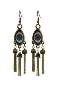 Blue Eye Dark Gold Chain Tassel Dangle Earrings