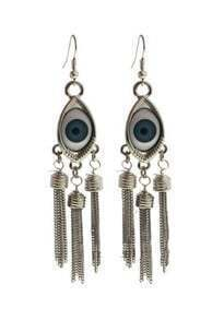 Blue Eye Silver Chain Tassel Dangle Earrings