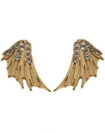 Gold Crystal Silver wings Stud Earrings
