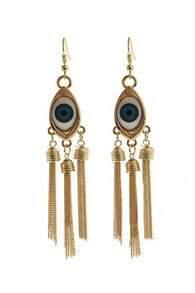 Blue Eye Gold Chain Tassel Dangle Earrings