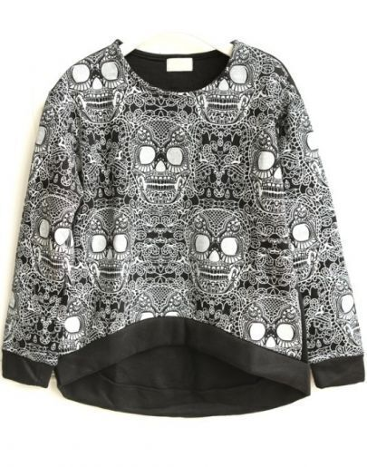 Black Long Sleeve Skull Print Sweatshirt