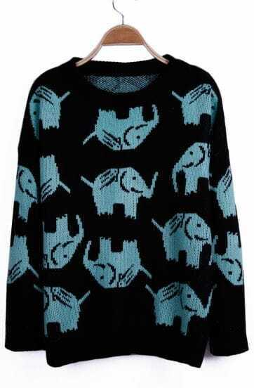 Blue Elephant Pattern Long Sleeve Pullover Sweater