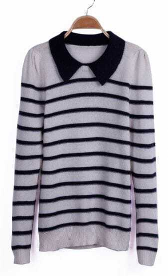 White and Black Pinstripe Contrast Collar Sweater