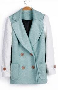 Mint Green Contrast Sleeve Double Breasted Winter Coat