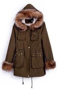 Army Green Fur Trim Hooded Cuffs Studded Embellished Pockets Parka