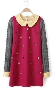Rose Red Long Sleeve Hollow Polka Dot Dress