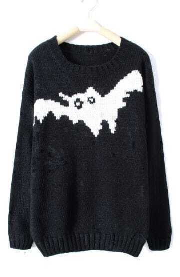 Black and White Bat Pattern Ribbed Jumper Sweater
