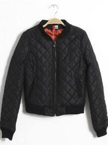 Black High Neck Long Sleeve Zipper Diaper Quilted Jacket