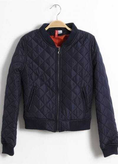 Navy High Neck Long Sleeve Zipper Diaper Quilted Jacket