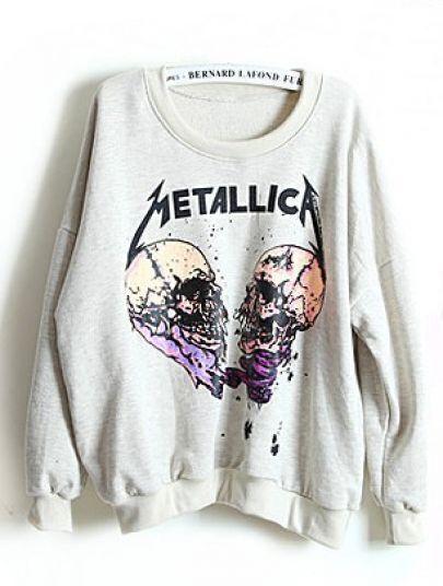 Grey Long Sleeve METALLIC A Skull Print Sweatshirt