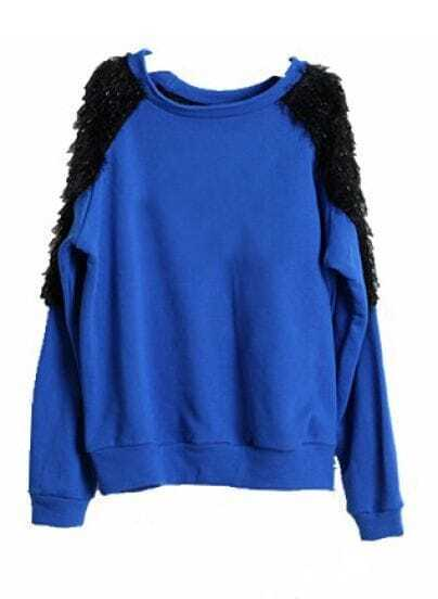 Blue Long Sleeve Shoulder Fur Loose Sweatshirt