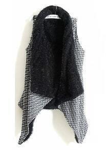 Grey Sleeveless Asymmetrical Fur Vest Coat