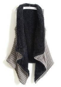 Khaki Sleeveless Asymmetrical Fur Vest Coat