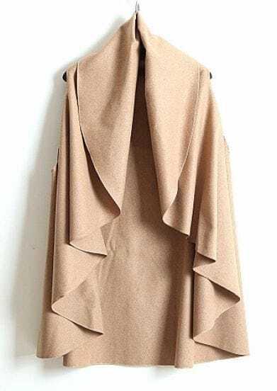 Camel V Neck Sleeveless Ruffles Cape Coat