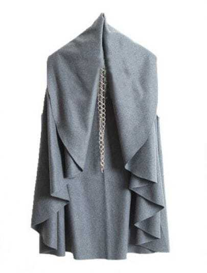Grey V Neck Sleeveless Ruffles Cape Coat