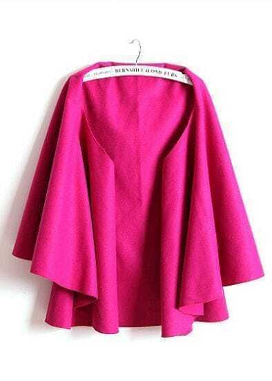 Rose Red V Neck Sleeveless Ruffles Cape Coat