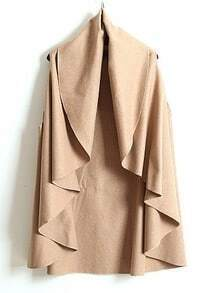 Camel V Neck Sleeveless Ruffles Cape Coat