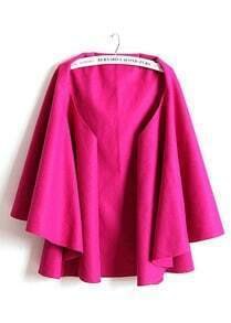 Rose Red V Neck Sleeveless Ruffles Cape Coat