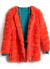 Orange Long Sleeve Covered Button Plush Loose Coat