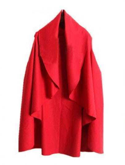 Red V Neck Sleeveless Ruffles Cape Coat