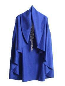 Blue V Neck Sleeveless Ruffles Cape Coat