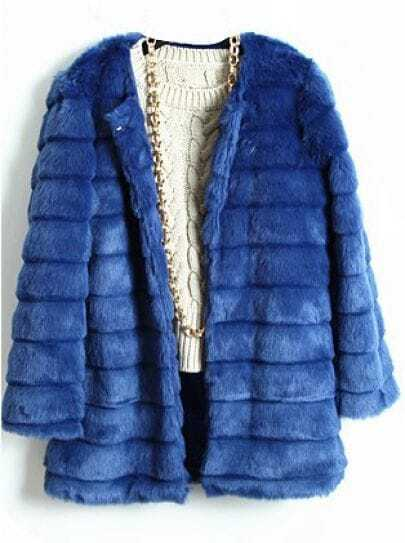 Blue Long Sleeve Covered Button Plush Loose Coat