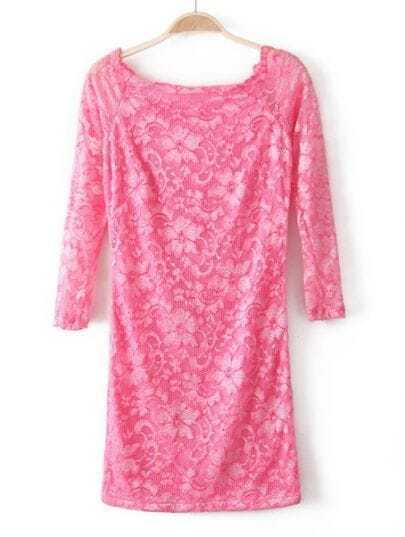 Pink Boat Neck Long Sleeve Embroidery Lace Dress