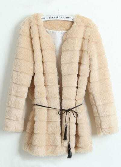 Beige Long Sleeve Covered Button Plush Loose Coat