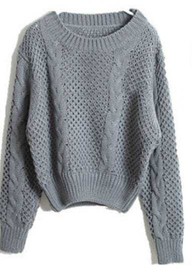 Grey Long Sleeve Hollow Crop Pullovers Sweater