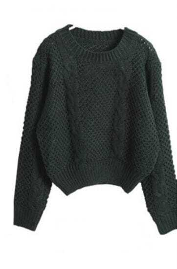 Dark Green Long Sleeve Hollow Crop Pullovers Sweater