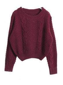 Wine Red Long Sleeve Hollow Crop Pullovers Sweater