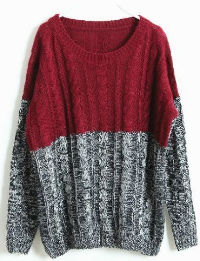 Wine Red Grey Long Sleeve Embroidery Sweater