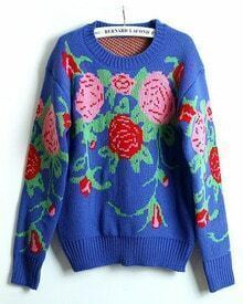 Blue Long Sleeve Embroidery Loose Sweater