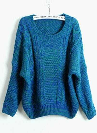 Blue Batwing Long Sleeve Loose Pullovers Sweater