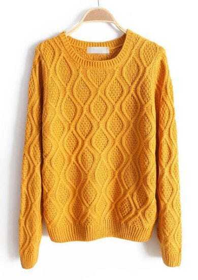 Yellow Long Sleeve Loose Diaper Pullovers Sweater