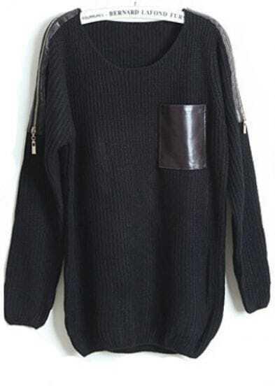 Black Long Sleeve Contrast Leather Zipper Sweater