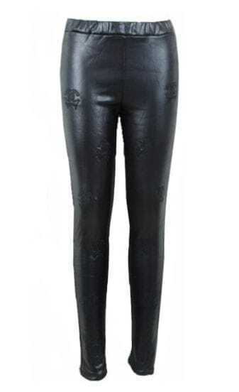 Black Skinny Double C Embroidery Leather Leggings